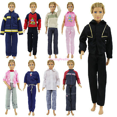 6Pcs= 3 set Random Daily Outfits Casual Clothes Uniform For Barbie Ken Doll Gift