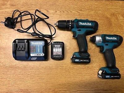 Makita CLX202AJ 10.8 V CXT Combi and Impact Driver with 3 x 2.0Ah batteries