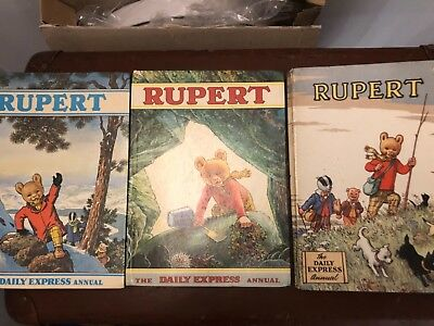 Three Rupert The Bear Annuals, 1950S,1970 AND 1971 HARDBACK GOOD CONDITION