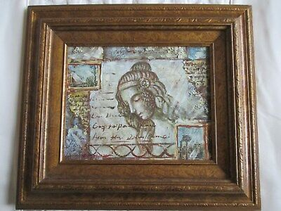 Beautiful Signed Contemporary Italian Rome Abstract Oil Painting in Gilt Frame