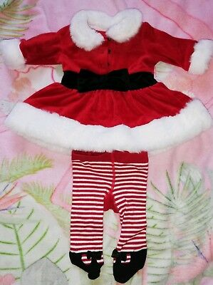 48f207717 MOTHERCARE BABY GIRL Christmas Velvet Dress And Tights 9-12 Months ...
