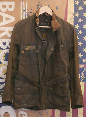 £329 Mens Barbour International Accolade olive 8oz Bees wax jacket S Small 36