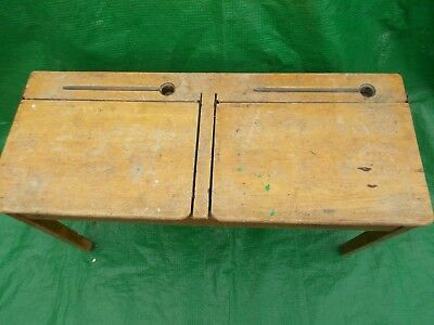original vintage double wooden school desk with ink wells and hinged tops