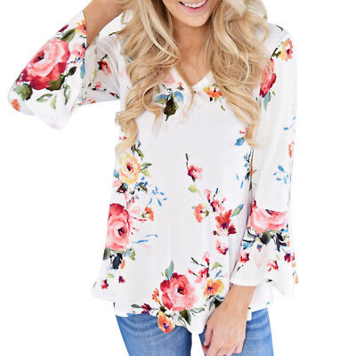 Hot Women Autumn Casual Floral Printing Long Flare Sleeve Tops T-Shirt Blouse US
