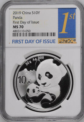 NGC MS70 2019 China 30g Silver Panda Coin First Day of Issue