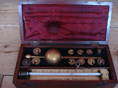 A Boxed Antique Sykes Hydrometer by J Castartelli & Son, Weights & Thermometer