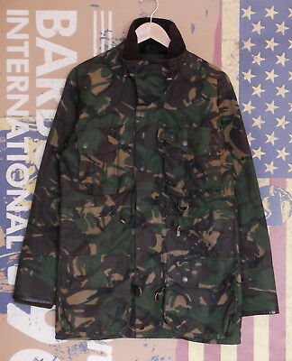 Rare Mens Barbour A28 Dry Fly Camo Wax jacket size C36 S Small 36 38