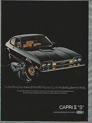1976 MERCURY CAPRI II advertisement, black Capri II S ad, Ford Lincoln Mercury,