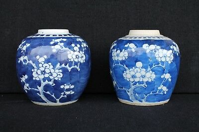 Two 19th century crackled ice and prunes decorated pots
