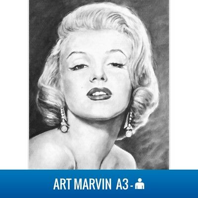 Commission A3 Charcoal Portrait - Drawing from your photo Gift to order Realism