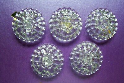 5 vintage very large clear glass bobbly topped buttons 26 mm. diam.