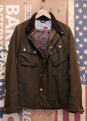 Rare £249 Mens Barbour Steve McQueen 9665 olive wax jacket size S Small 34 36