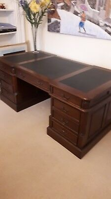 "Antique-style, reproduction ""partners"" pedestal desk, black faux leather inserts"