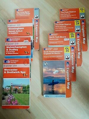 OS Ordnance Survey Maps Joblot 8 Total OL1 OL24 OL26 OL35 204 217 219 220
