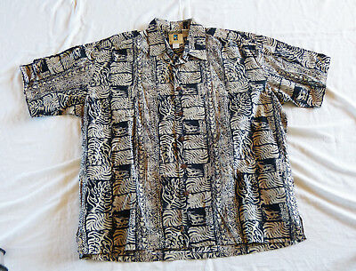 Kahala fern leaves Hawaiian shirt, made in Hawaii XL