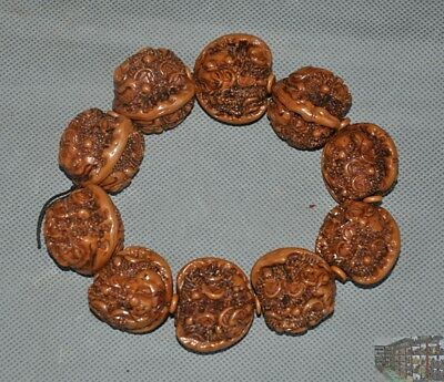China Wen play antique Walnut nuclear carve coin Golden Toad Bracelet hand chain