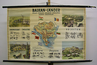 Schulwandkarte Wall Map Old Beautiful Balkanländer Urbjagr 38 5/8x26 3/8in ~