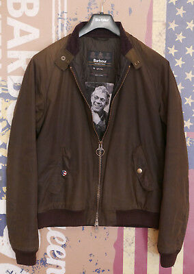 £229 Mens Barbour Steve McQueen Wax Merchant olive bomber jacket XL Large