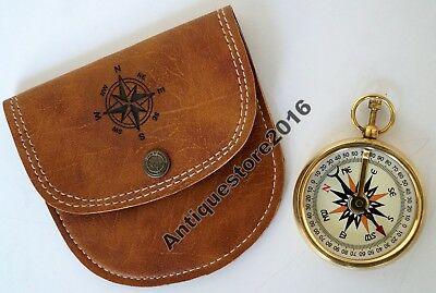 "Brass Compass Antique Maritime Camping 2"" Pocket With Leather Case Great Gift"