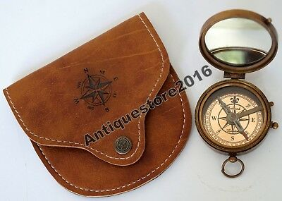 Brass Compass Antique Magnetic Vintage Marine Compass w/ Leather Case Great Gift