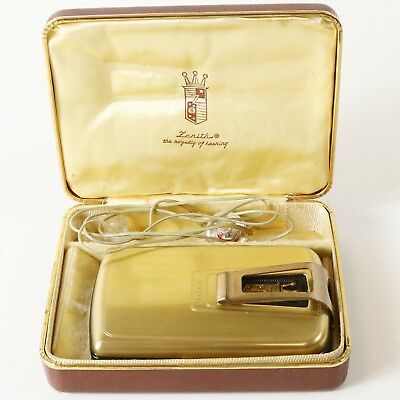 1940's Vintage Zenith Miniature 75 Hearing Aid The Royalty of Hearing - w/ Case
