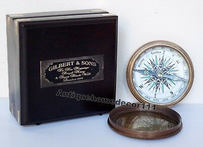Brass Compass Nautical Vintage Antique Robert Frost Poem Rosewood Wooden Box