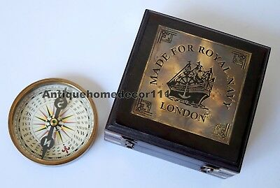 Brass Compass Nautical Antique Vintage Camping Pocket With Rosewood Wooden Box