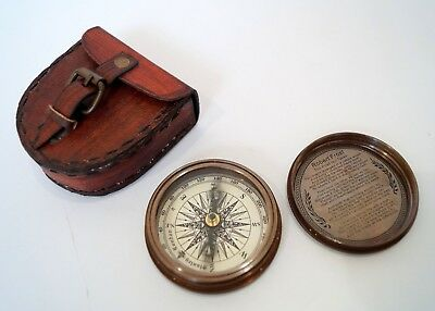 Antique Compass Replica Stanley London Robert Frost Poem Handmade Leather Case