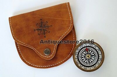 Brass Compass Maritime Antique Pocket 2 inch w/ Handmade Leather Case Great Gift