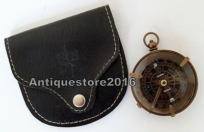 Brass Compass Antique Dollond London Pocket  With Black Leather Case Great Gift