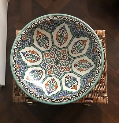 Beautiful Tierra Verde Spanish Large Round Pottery Bowl, 40cm in diameter