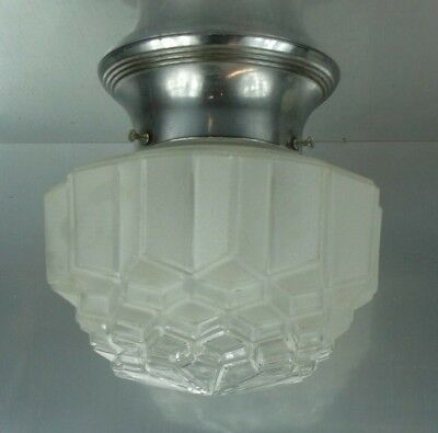 "Vintage Art Deco clear & frosted Glass Skyscraper Light  4"" Fitter Antique"