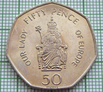 Gibraltar 2008 50 Pence, Our Lady Of Europe, Unc