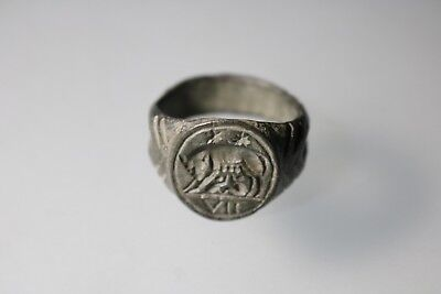 Ancient Fantastic Roman Bronze Ring with She-Wolf 1st - 4th century AD