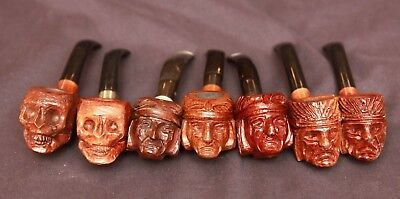 Lot of Vintage Italy Carved Wood Figural Smoking Pipes Skull Indian Chief NOS