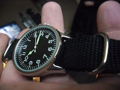 nice gents 1950s  british pilot military style quartz  watch