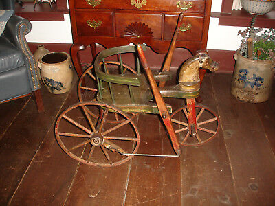An Outstanding Early , American Arm Powered Velocipede ,horse Head, Foot Steeri