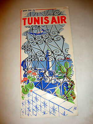 Tunis Airlines Timetable 1955-56.