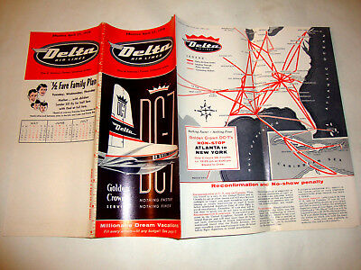 Delta Air Lines Timetable 1958. Golden Crown Service