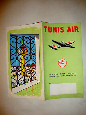 Tunis Airlines Timetable 1958 - 1959.