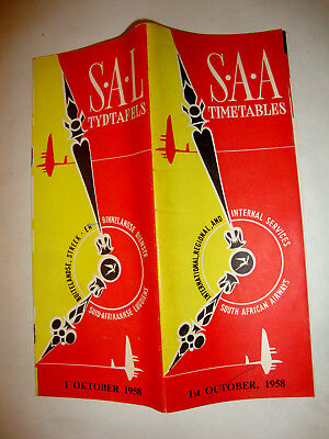 S.a.a South African Airways Timetable 1958.