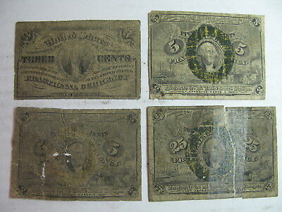 Us Fractional Currency, Four Pieces, Awful Condition, Rags, Very Cheap !