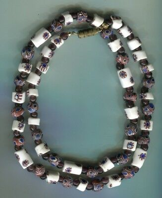 African Trade beads Vintage Venetian old glass beads mixed millefiori necklace