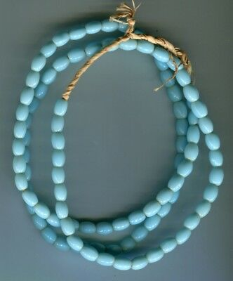 African Trade beads Vintage Czech Bohemian pressed glass sky blue oval