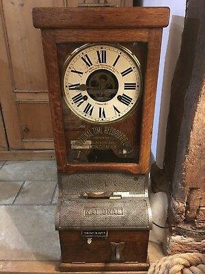 Antique clock National Time Recorder Clocking In Machine