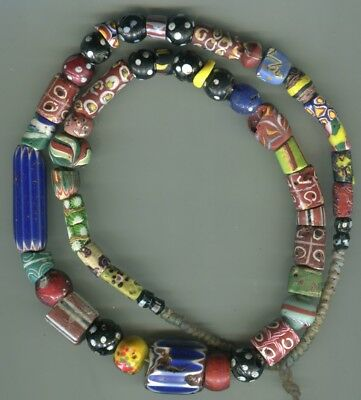 African Trade beads glass Vintage Venetian old fancy glass millefiori mix chips