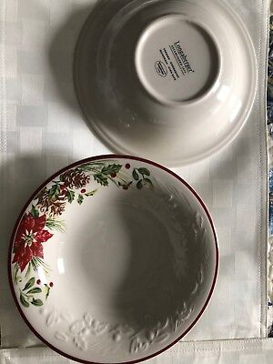 2 Soup Bowls Longaberger Natures Garland Pottery