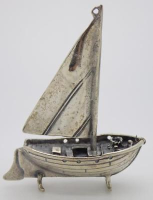 Vintage Sterling Silver 925 Italian Made Fisherman Boat Miniature, Stamped