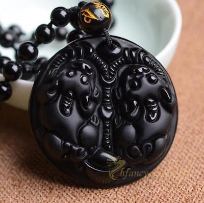 Obsidian pixiu pendant + necklace Jewelry healing Stone Lucky Blessing Beautiful
