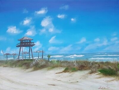 Thom Original Oil Painting On Canvas 24X18 Florida Ormond Beach Wwii Watch Tower
